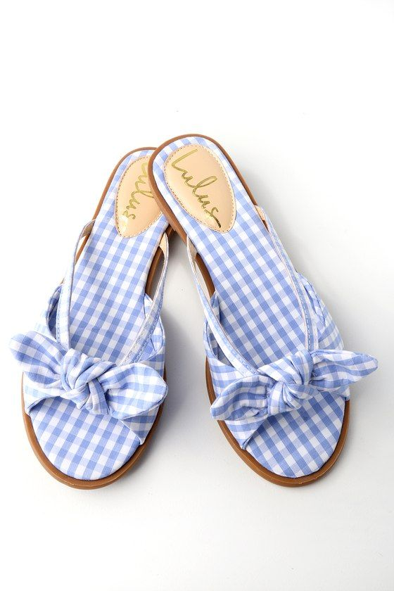 Delilah Light Blue Gingham Knotted Slide Sandals 4