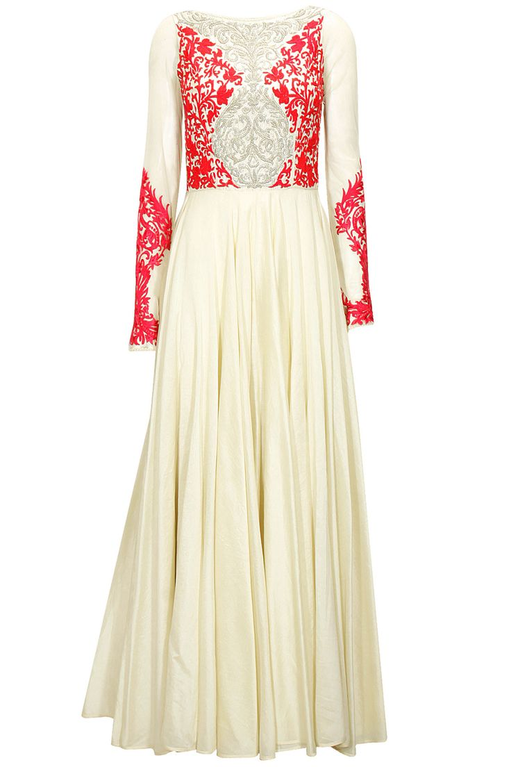 """Ivory and fuchsia embroidered anarkali set available only at Pernia's Pop-Up Shop. XS: BUST - 32"""", WAIST - 26"""", LENGTH - 58"""""""