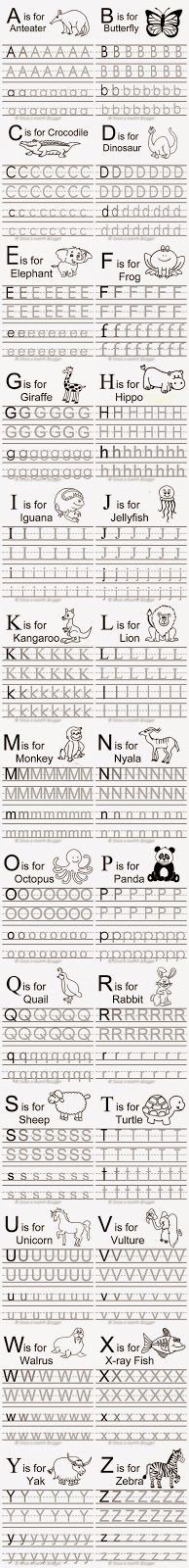 Free Animal Alphabet Traceable Letters