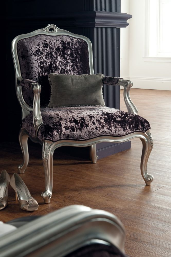 The new Winsor Rococo Antique Silver Leaf Armchair bedroom