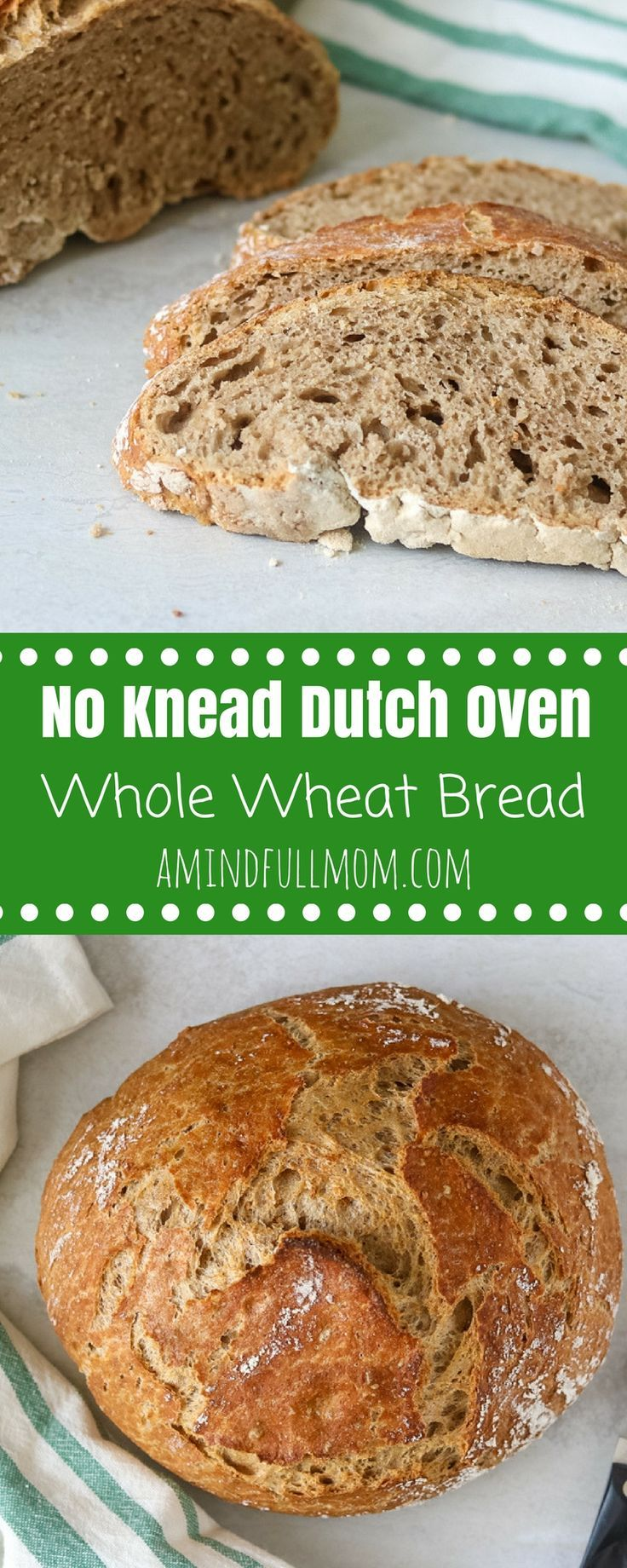No-Knead Whole Wheat Dutch Oven Bread: Simple technique that creates a hearty, rustic bread which bakes in a dutch oven. Perfect for serving with soup or toasting up for a hearty breakfast. #bread #wholewheat #healthy via @amindfullmom