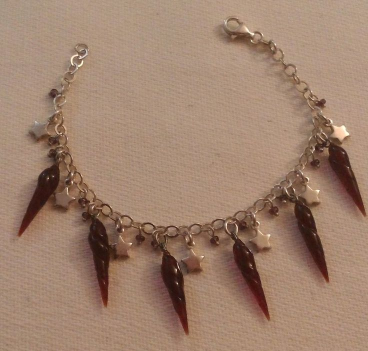 bracciale in argento 925,stelline, e corno peperoncini in vetro di murano, by crys e cry, 28,00 € su misshobby.com