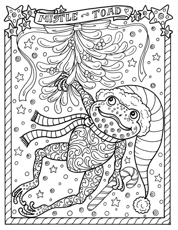 Frog Printable Coloring Page Christmas Mistle Toad Adult