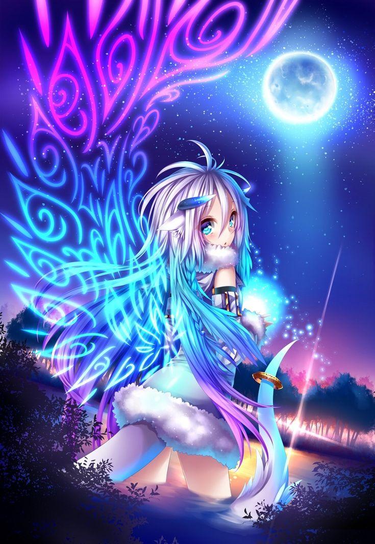 anime art sea serpent dragon girl tail horns