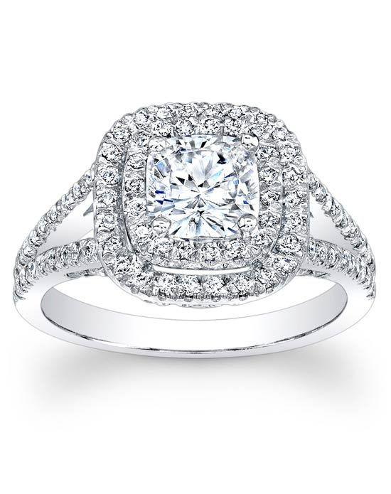 Since1910 Double Halo Split Shank Diamond Engagement Ring