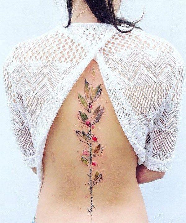 Spine Watercolor Tattoo Design.