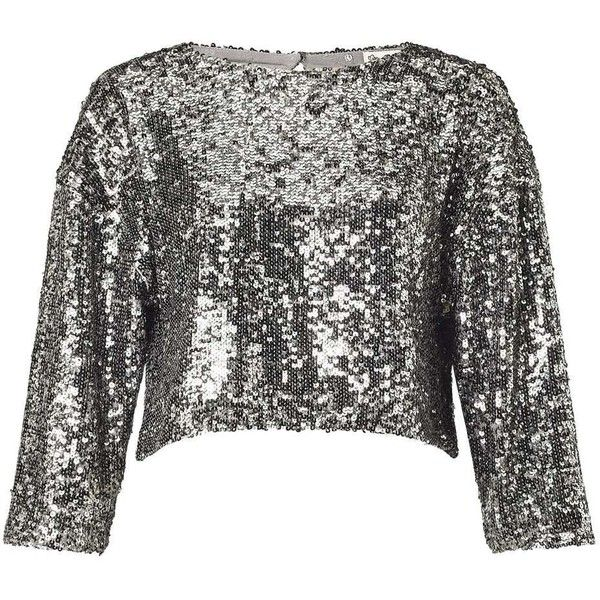 Miss Selfridge Silver Sequin Embellished Top ($85) ❤ liked on Polyvore featuring tops, silver metal, miss selfridge, silver top, sequin embellished top, silver sequin top and sequined top