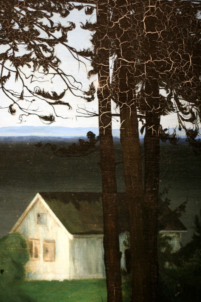soircharmant:    Harald Sohlberg - Fisherman's cottage, 1906, detail.Oil on canvas.Art Institute of Chicago.