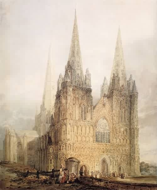The West Front of Lichfield Cathedral  THOMAS GIRTIN - Acuarelista, los ingleses fueron el máximo exponente en Acuarela (Método Inglés)