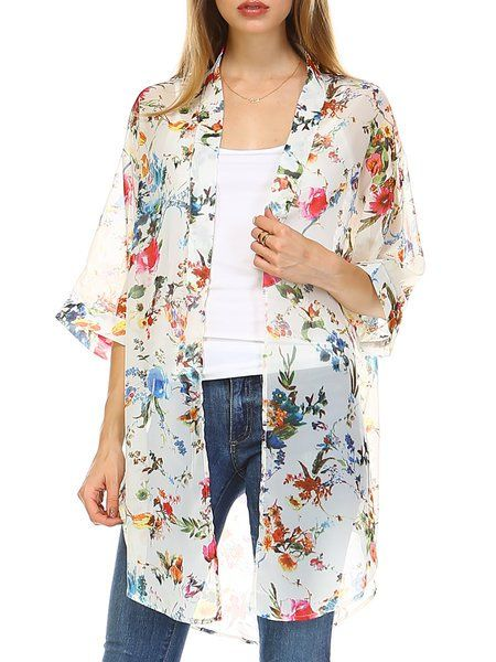 Shop Kimonos - White Polyester Resort Floral Floral-print Kimono online. Discover unique designers fashion at StyleWe.com.