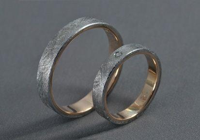 Meteorit – Gibeon meteorit, rose gold 585, diamond wedding ring, engagement ring / Meteorit,Arany,Gyémánt – Jegygyűrű, karikagyűrű