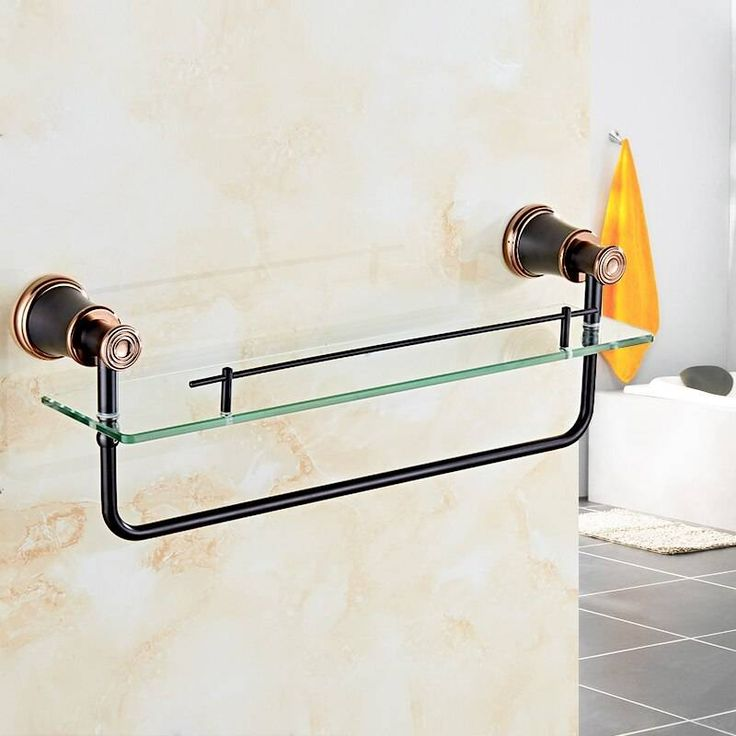 Bathroom Shelves Brass ORB Tempered Glass Shelf Towel Bar Hanger Cosmetic Racks …   – Products