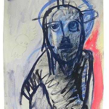 Jesus Christ and Cherub (Original Drawing) by VanyssaGraphics