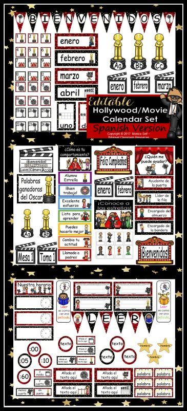 """Getting your room ready for school?  This calendar set is a great addition to anyone's Hollywood/Movie Themed classroom!  I'm so excited about this packet because it is editable, and thus enables you to customize your calendar to meet your needs. When you type in the title you can also change the font and size of your text. I have included the words, """"Add text here"""" or """"edit"""" to show you where I have the editable boxes."""