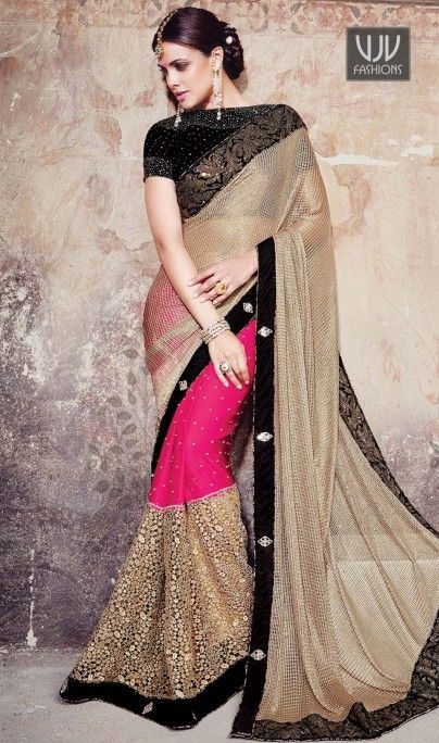 Renowned Fancy Fabric Patch Border Work Designer Saree  Add grace and charm towards the look in this desirable pink and beige satin and fancy fabric designer saree. This attractive attire is displaying some brilliant embroidery done with embroidered and patch border work. Comes with matching blouse.