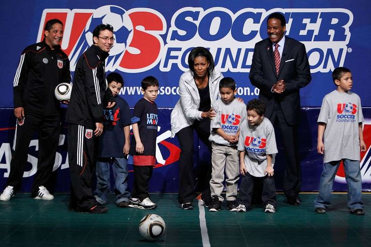 """President Barack Obama and his soccer connection:     First Lady Michelle Obama hosts a 2010 event with the U.S. Soccer Foundation and D.C. United in Washington, D.C., as part of her """"Let's Move!"""" campaign to encourage children to remain active."""