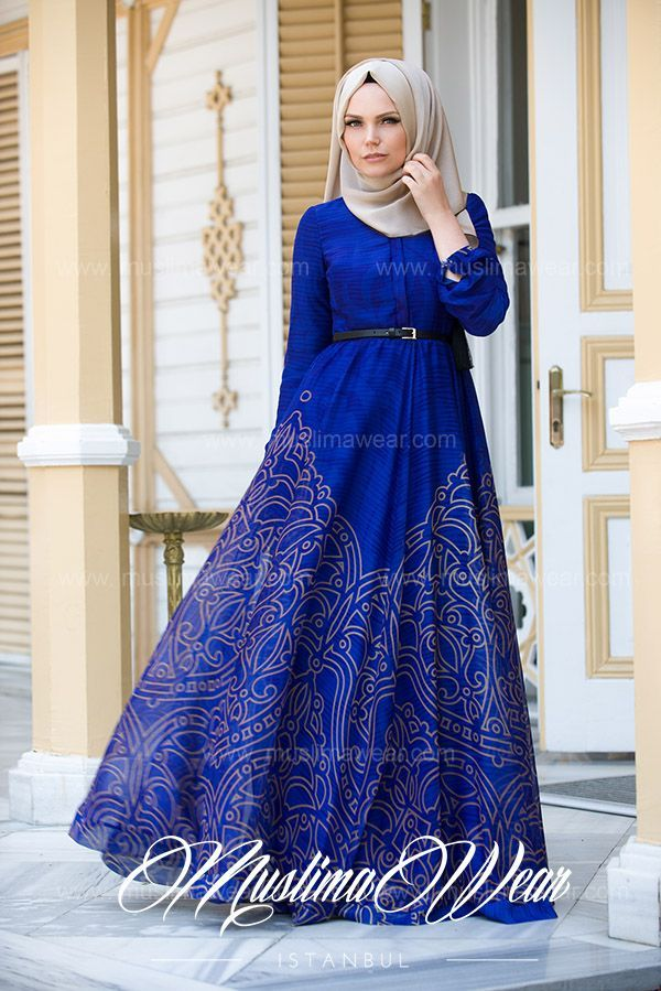 Hijab Fashion 2016/2017: Muslima Wear Magic Blue Dress  Hijab Fashion 2016/2017: Sélection de looks tendances spécial voilées Look Descreption Muslima Wear Magic Blue Dress