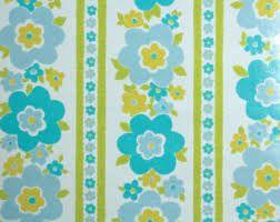 1970s blue flower wallpaper