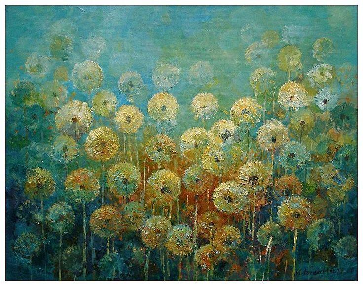 Dandelions, 50x40cm, acrylic, canvas, for sale