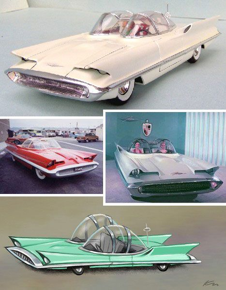 1955 Lincoln Futura, recycled 11 years later by kustom kar king George Barris to be Batman & Robin's rocket-fueled ride.