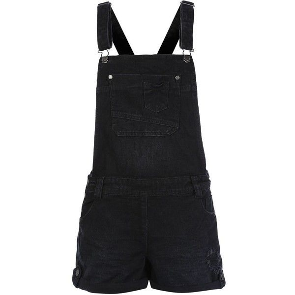 Black Exposed Pocket Denim Dungarees ($14) ❤ liked on Polyvore featuring jumpsuits, rompers, shorts, dresses, playsuits, dungarees, black, denim dungaree, summer romper and denim rompers