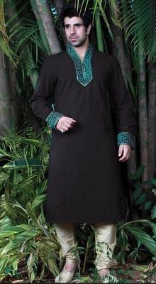 Stylish Black Jacquard Silk Kurta Churidar