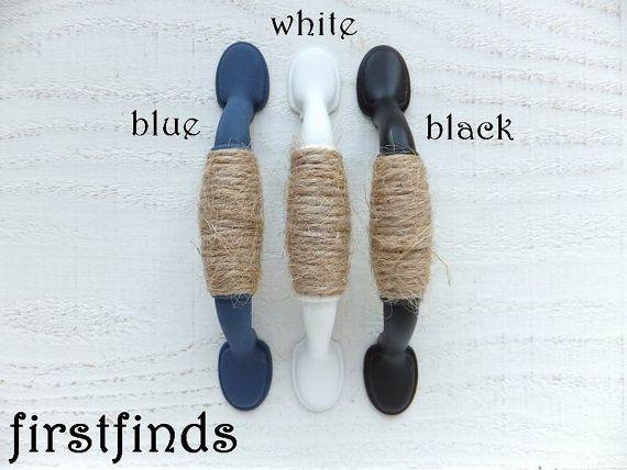 8 Jute Twine White Shabby Chic Rope Handles Cabinet Door Dresser Drawer Cupboard Pulls Nautical