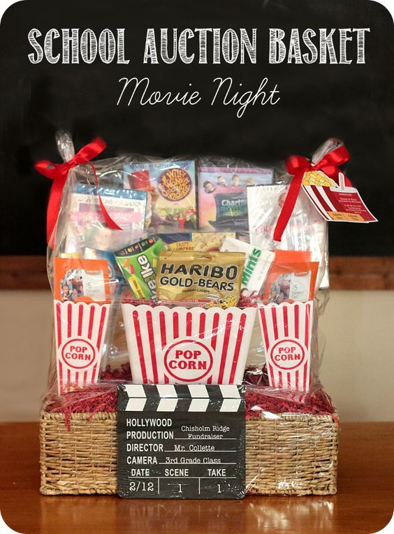 School Fundraiser - Auction Basket - Movie Night - Sources listed on post Keepingmycents.blogspot.com