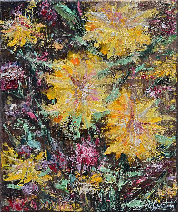 "Artist: YULIYA CHERNYSHOVA    Title: ""SUMMER'S GOLD""  Size: 10in x 12in (25cm x 30cm)  Price: 200 CAD      Flowers are amazing… Unfortunately,"