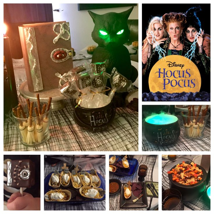 Hocus Pocus  Disney Dinner and a Movie Night. We had Witches Stew (soup), Graveyard coffin tacos and the Sanderson sister's Magic Potion to drink. For dessert we had Binx black cat cookies and the Book of Spells cake pops. Snack during the movie was the Sanderson sister's broomsticks and Halloween snack mix with dead mans toes.