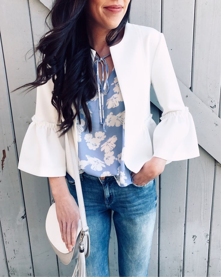 topshop ruffled crop blazer cropped jacket white nordstrom, pretty in the pines blog