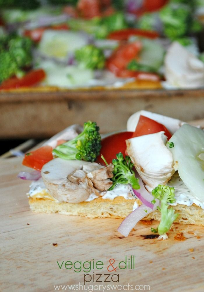 Veggie and Dill Pizza: crescent roll crust topped with dill cream cheese spread and fresh veggies!
