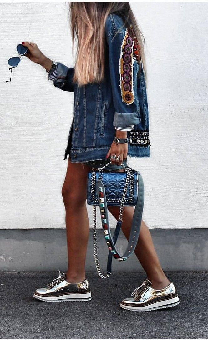 embroidered denim jacket and metallic platform creepers
