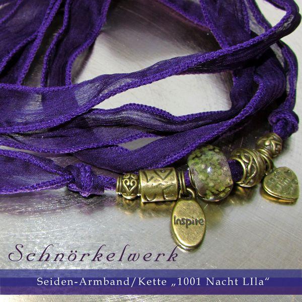 """Ketten - Seiden-Armband/Kette """"1001 Nacht lila"""" - ein Designerstück von Schnoerkelwerk bei DaWanda"""
