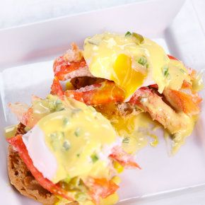 King Benedict by Mario Batali on thechew.com. I watched Mario make this today on The Chew and nearly fainted. He uses the butter that the crab is poached in to prepare the hollandaise. Yum