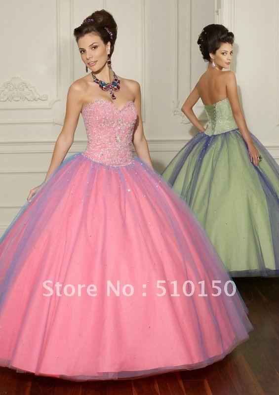 Freeshipping completo con cuentas de cristal de novia vestidos de bola de organza color rosa vestidos de fiesta de cumpleaños 16 dulce de fiesta vestido de niña de qd-35
