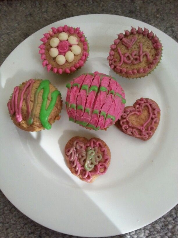 Pink and Green piped icing designs