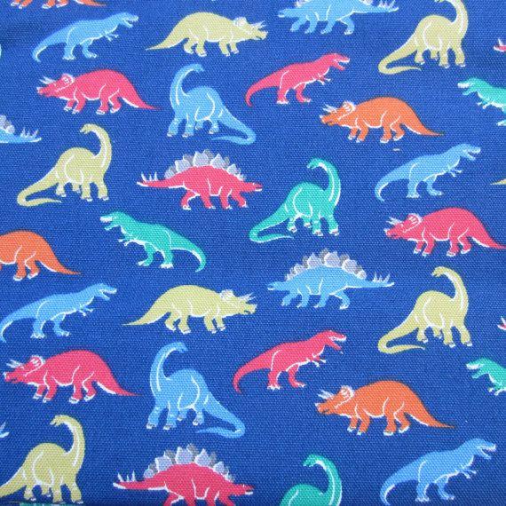 "1m Cath Kidston Fabric. Cotton Duck Cloth. Dinosaurs on Blue. 140cm Wide. (39"" x 55"") Heavy Canvas. Boy Animal Fabric."