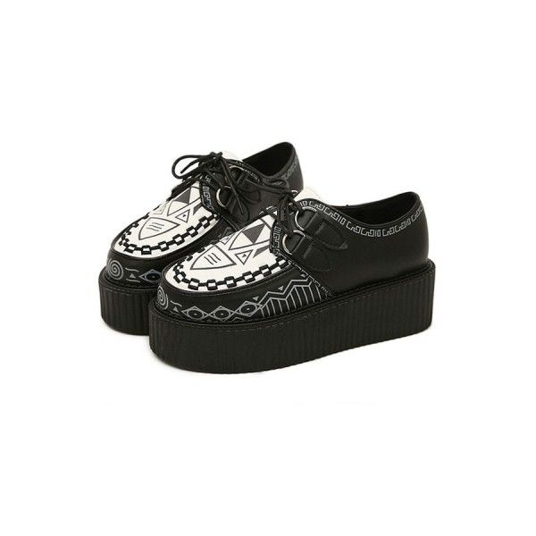 Punk Geo Creepers ($57) ❤ liked on Polyvore featuring shoes, oasap, zapatos, creeper shoes, laced shoes, punk rock shoes, lace up shoes and laced up shoes