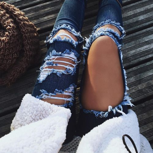 blue ripped skinny jeans tumblr outfit hipster