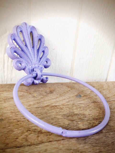 BOLD lilac purple ornate shell bathroom towel ring // nautical beach tropical towel hanger hook // shabby chic weathered cottage rustic