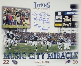 "Music City Miracle signed Tennessee Titans 16X20 Photo w/ Music City Miracle & '99 AFC Champs w/ Kevin Dyson signature by Athlon Sports Collectibles. $85.00. Steve Christie from the Buffalo Bills kicked off, and Tennessee Titans player Lorenzo Neal received. Neal handed the ball off to Titans tight end Frank Wycheck, who threw a lateral across the field to another Titans player, Kevin Dyson, who then ran down the sidelines for a 75-yard touchdown. The play was named ""Hom..."