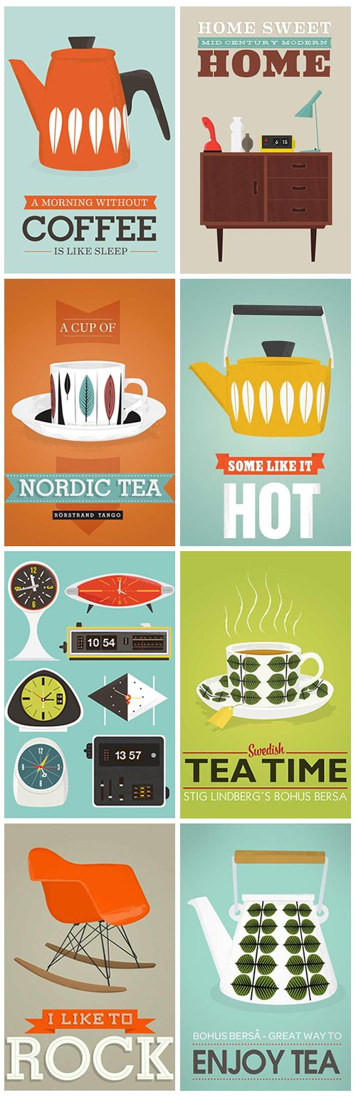 Retro Scandinavian inspired prints by Jan Skacelik. Colorful and very cool.  http://www.heygirlblog.com/?p=118                                                                                                                                                      もっと見る
