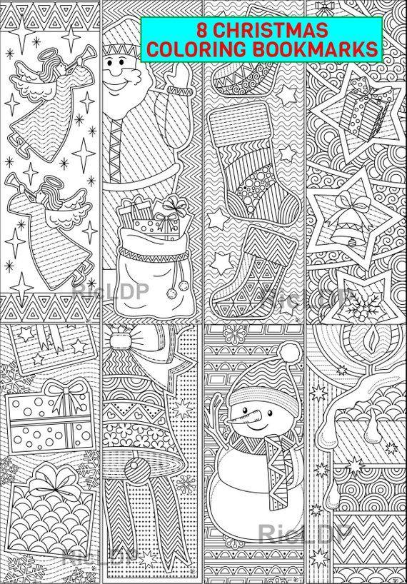 Ensemble de 8 signets de coloriage de Noel   Marqueurs avec des