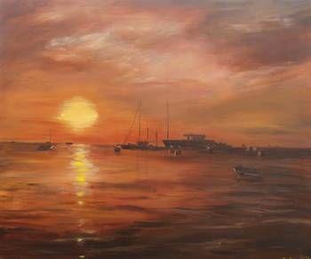 Zonsondergang aan de kust   acryl   2013