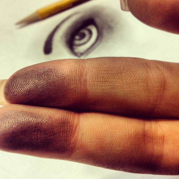 Charcoal fingerprints, and eyeball