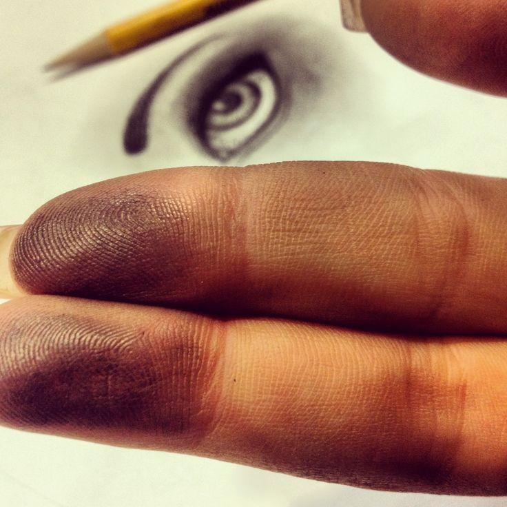 Charcoal fingerprints, and eyeball