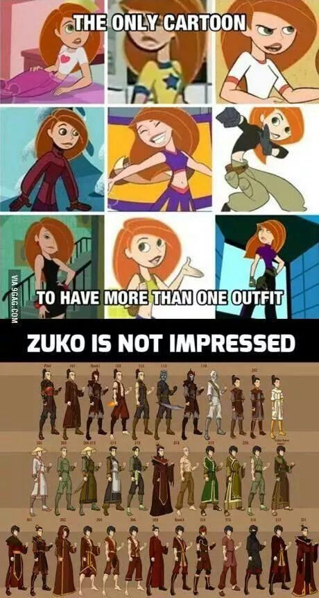 most characters in ATLA had multiple outfits, and when they didnt they were dead poor, traveling with minimal supplies, or a uniform. but i cant explain LOK or MLB