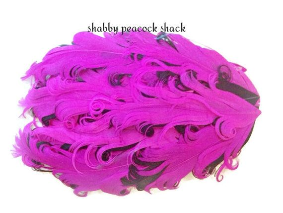 Hot Pink & Black Curly Nagorie Feather Pad, Goose Feather Pad for Headband, DIY Baby Headbands, Feather Pad, Wholesale Headband Supplies