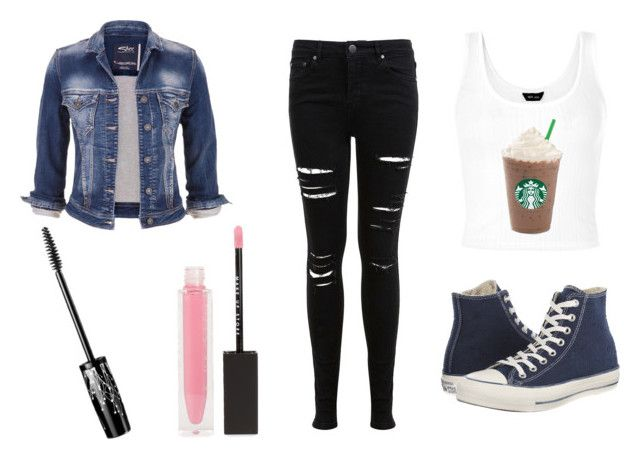 """""""Spring outfit 3"""" by garance12 ❤ liked on Polyvore featuring Miss Selfridge, Converse, maurices and MAKE UP STORE"""